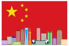 Shanghai-Stadt-Skyline in der China-Flaggen-Vektor-Illustration Stockfotografie
