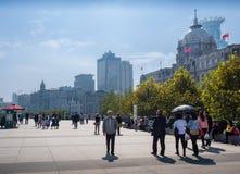 Shanghai-Stadtskyline, auf der Promenade, Shanghai, China Stockbild
