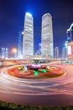 Shanghai street night Stock Photos