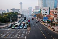 Shanghai Streets. China 2014 Shanghai Center - Standard Street view - Cars on traffic light Stock Image