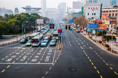 Shanghai Streets. China 2014 Shanghai Center - Standard Street view - Cars on traffic light Royalty Free Stock Image