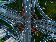 Shanghai streets and intersections from above. Shanghai, China A shot for your morning commute. The photo was taken with a drone, high above the street royalty free stock images