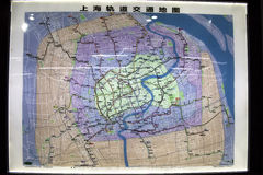 Shanghai subway map. The subway map of the Shanghai underground appears to be an abstract art print from a distance stock photos