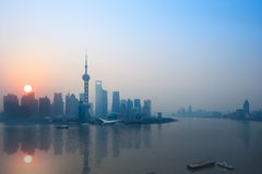 Shanghai in sunrise Stock Image