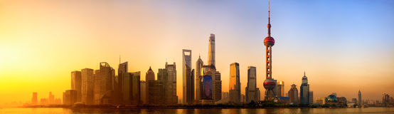 Shanghai at sunrise Stock Image