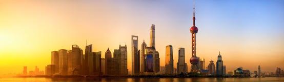 Shanghai at sunrise. Pudong panorama at sunrise, Shanghai, China Stock Image