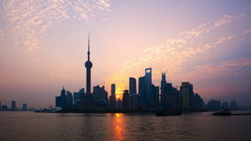 Shanghai Sunrise Time Lapse(Zoom In) stock video footage