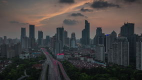 Shanghai sunset road roof top panorama 4k time lapse 4k time lapse china. China shanghai city sunset traffic road roof top panorama 4k time lapse 4k time lapse stock video footage