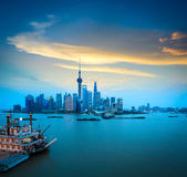 Shanghai in sunset Royalty Free Stock Images