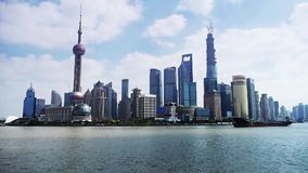Shanghai Time Lapse,Lujiazui Financial Center,busy Huangpu River shipping. Gh2_06784 stock video footage