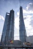 Shanghai torn Lujiazui Arkivfoton
