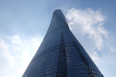 The Shanghai Tower. Against. It is the tallest in China and second in the world. Design by Gensler, Specs: 632m tall, 121 stories, floor area 380,000 sq.meter stock photo