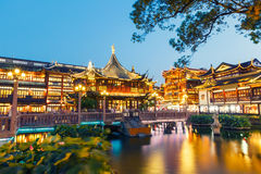 Shanghai traditional yuyuan Garden building scenery in the evening Royalty Free Stock Images