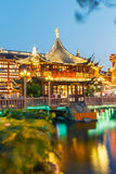Shanghai traditional yuyuan Garden building scenery in the evening Stock Image
