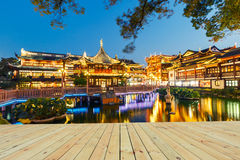 Shanghai traditional yuyuan Garden building scenery in the evening Stock Photos