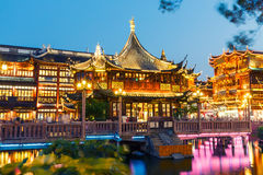 Shanghai traditional yuyuan Garden building scenery in the evening Royalty Free Stock Image