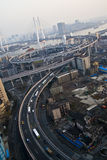 Shanghai traffic on nanpu bridge Royalty Free Stock Images