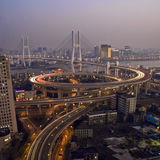 Shanghai traffic on nanpu bridge by night Royalty Free Stock Images