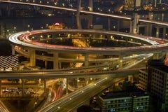 Shanghai traffic by night Royalty Free Stock Photo