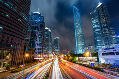 Shanghai traffic at night in Lujiazui business center, Shanghai, Royalty Free Stock Photo