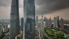 Shanghai traffic road storm sky buildings panorama 4k time lapse china. China shanghai cityscape traffic road storm sky famous buildings panorama 4k time lapse stock video footage