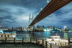 Shanghai urban landscape, Nanpu Bridge Crossing the River Royalty Free Stock Photos
