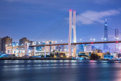 Shanghai urban landscape, Nanpu Bridge Crossing the River Royalty Free Stock Images