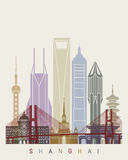 Shanghai V2 skyline poster. Shanghai skyline poster in editable vector file vector illustration