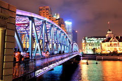Shanghai Waibaidu bridge. At night with colorful light over river Royalty Free Stock Photos