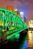 Shanghai Waibaidu bridge. At night with colorful light over river Stock Photo