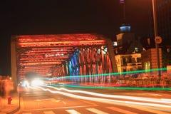 Shanghai Waibaidu bridge and light tracks at night Stock Image