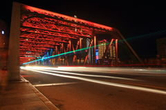 Shanghai Waibaidu bridge and light tracks at night Royalty Free Stock Photos