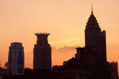 Shanghai Waitan. District with historic buildings silhouette Stock Photography