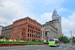 Shanghai Waitan. District with historic buildings and street Stock Photos