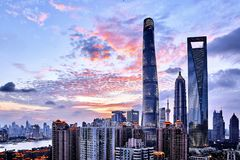 Shanghai waitan lujiazui sunset royalty free stock photos