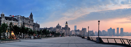 Shanghai Waitan morning. Panorama with historic buildings over river Stock Photos