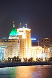 Shanghai Waitan night. View with historic buildings over Huangpu River Stock Image
