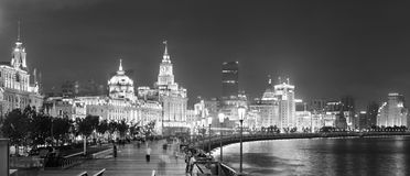 Shanghai Waitan night. View with historic buildings over Huangpu River panorama in black and white Stock Photos