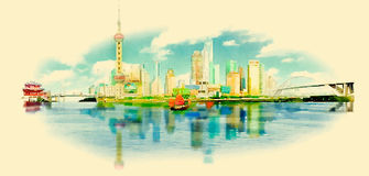 Shanghai. Water color panoramic shanghai illustration stock illustration