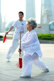 Shanghai Woman Tai Chi Stock Photography