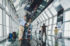Shanghai World Financial Center building Observatory. SHANGHAI, CHINA - MAY 07, 2016: Tourists in Shanghai World Financial Center building Observatory royalty free stock image