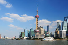 Shanghai World Financial Center from the Bund stock photo