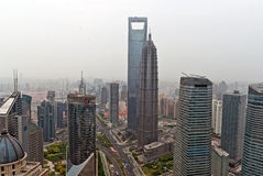 Shanghai World Financial Center and Jin Mao Tower. View from Oriental Pearl Tower Royalty Free Stock Photo