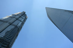 Shanghai world financial center and  jinmao tower Royalty Free Stock Image