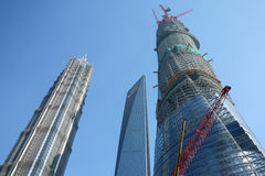 Shanghai world financial center , jinmao tower ,shanghai center. Shanghai world financial center , jinmao tower and in the construction of Shanghai Center Royalty Free Stock Photo
