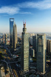 Shanghai World Financial Center and Lijiazui road. From birds fly stock photos
