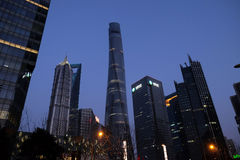 Shanghai world financial center skyscrapers. In Lujiazui, China stock photo