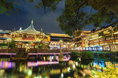 Shanghai yuyuan garden at night. Beautiful shanghai yuyuan garden at night,built in 1559 Royalty Free Stock Photo
