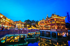 Shanghai yuyuan garden at night Stock Images