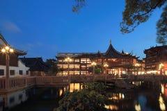 Shanghai yuyuan nattplats Royaltyfri Bild